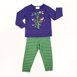 Hanna Andersson Purple Green Applique Outfit 90 3T